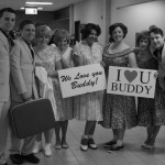 Marnie Kersten and some of the cast of Buddy: The Buddy Holly Story - Charlottetown Airport